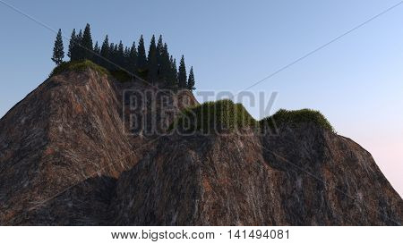 3d illustration of a rock with trees and grass