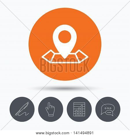 Location icon. Map pointer symbol. Speech bubbles. Pen, hand click and chart. Orange circle button with icon. Vector
