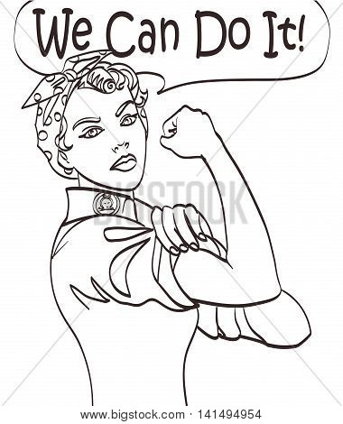We Can Do It. Cool vector iconic woman's fist symbol of female power and industry. cartoon woman with can do attitude. Isolated lineart eps 10.
