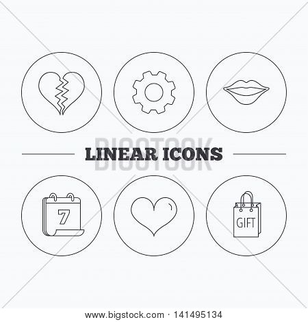 Love heart, kiss lips and gift icons. Broken heart linear sign. Flat cogwheel and calendar symbols. Linear icons in circle buttons. Vector