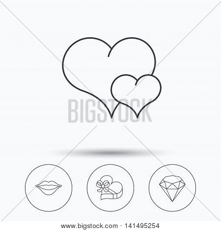 Love heart, brilliant and gift box icons. Kiss lips linear sign. Linear icons in circle buttons. Flat web symbols. Vector
