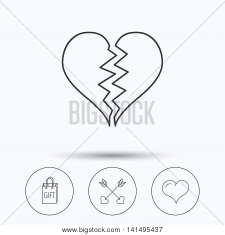 Love heart, gift box and arrows icons. Broken heart or divorce linear signs. Linear icons in circle buttons. Flat web symbols. Vector