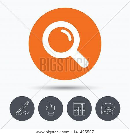 Magnifier icon. Search magnifying glass symbol. Speech bubbles. Pen, hand click and chart. Orange circle button with icon. Vector