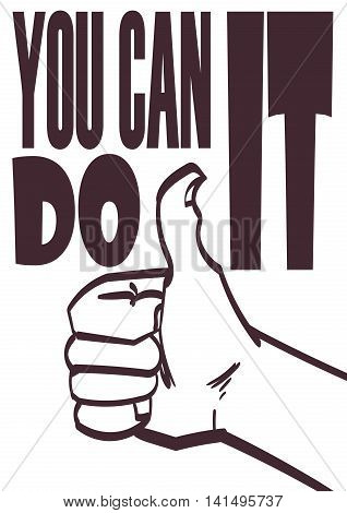 Poster with approve hand and signature you can do it. Vector eps 10.