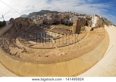 Ruins of roman amphitheater in Cartagena Spain
