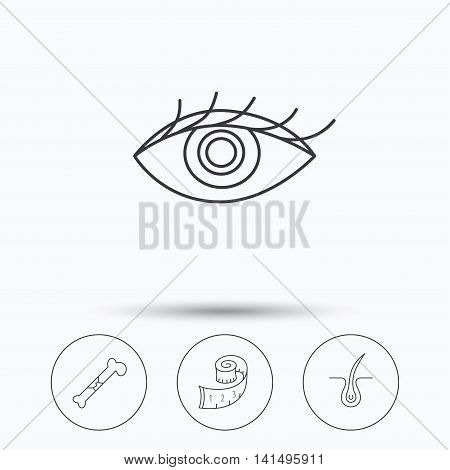 Bone fracture, weight loss and trichology icons. Eye linear sign. Linear icons in circle buttons. Flat web symbols. Vector