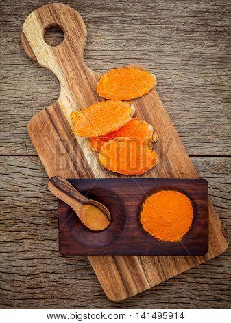 Alternative Ingredients For Skin Care. Homemade Scrub Curcumin Powder And Curcumin Roots With Cuttin