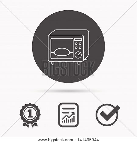 Microwave oven icon. Kitchen appliance sign. Report document, winner award and tick. Round circle button with icon. Vector