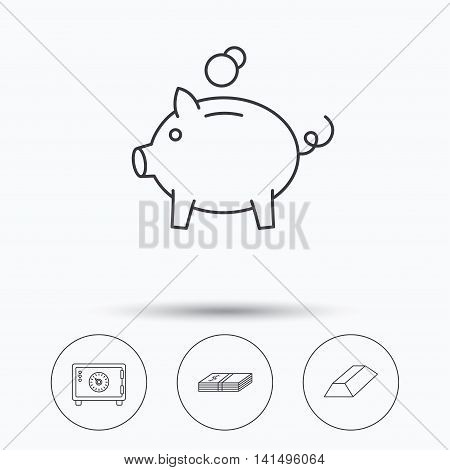 Piggy bank, cash money and safe icons. Gold bar linear sign. Linear icons in circle buttons. Flat web symbols. Vector