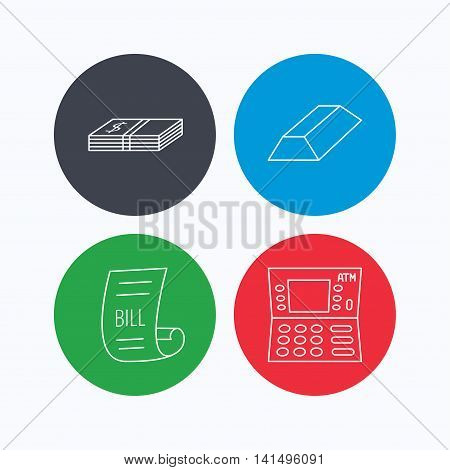 ATM, cash money and bill icons. Gold bar linear sign. Linear icons on colored buttons. Flat web symbols. Vector