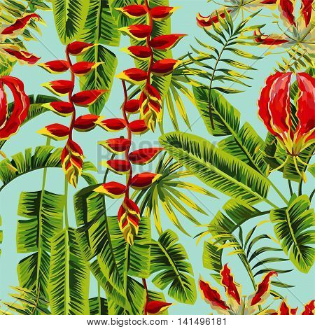 Composition tropic exotic plants and flowers. Palm banana leaf and Gloriosa floral vector jungle. Seamless wallpaper pattern on a blue background. Hand drawn painting fashion branch