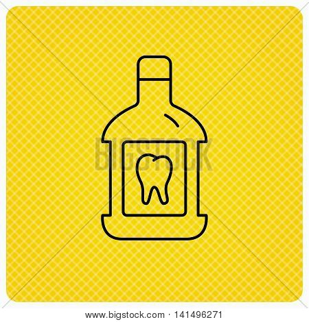 Mouthwash icon. Oral antibacterial liquid sign. Linear icon on orange background. Vector