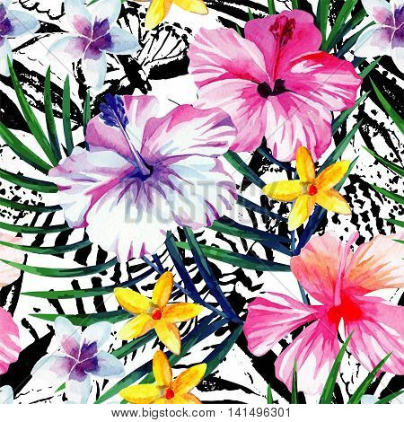 Exclusive fresh flowers tropic hibiscus plumeria and banana palm leaves hand drawn watercolor. Print fashion hawaii jungle floral seamless vector pattern on black and white background