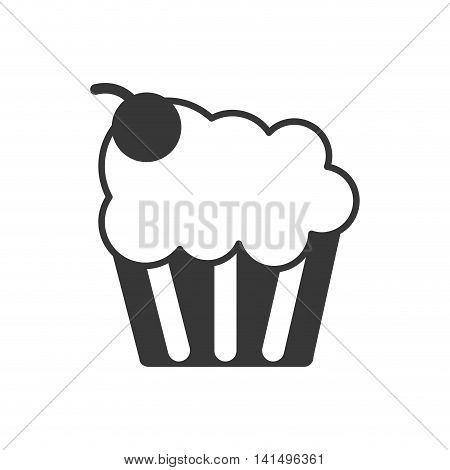 cupcake muffin cream cherry icon. Isolated and flat illustration. Vector graphic