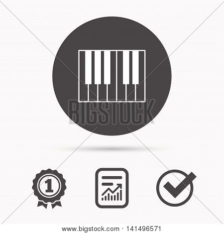Piano icon. Royal musical instrument sign. Report document, winner award and tick. Round circle button with icon. Vector