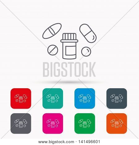 Pills icon. Pharmacy bottle sign. Medical drugs symbol. Linear icons in squares on white background. Flat web symbols. Vector