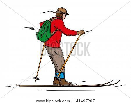vector - skiing-  historic - isolated on background