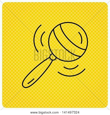 Baby rattle icon. Toddler toy sign. Child fun ball symbol. Linear icon on orange background. Vector