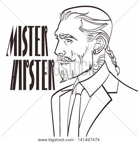 Vector illustration of a modern man in a pop art, comic style with signature Mister Hipster. Nice lineart of handsome male, isolated eps 10.