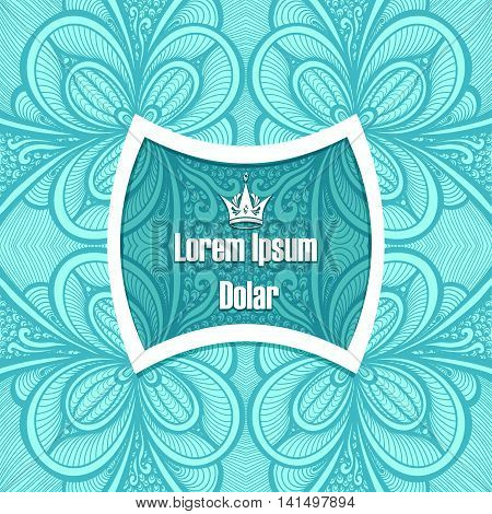 Template with frame and seamless  Zen-doodle or  Zen-tangle  pattern in blue colors for advertising cosmetic perfumer  or for decorate package clothes or other things