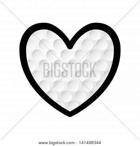 golf ball heart sport hobby game icon. Isolated and flat illustration. Vector graphic