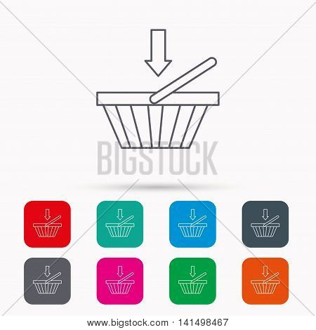 Shopping cart icon. Online buying sign. Linear icons in squares on white background. Flat web symbols. Vector