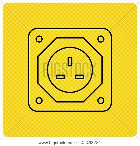 UK socket icon. Electricity power adapter sign. Linear icon on orange background. Vector