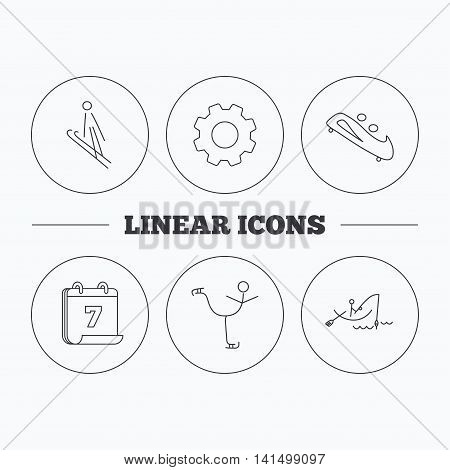 Fishing, figure skating and bobsled icons. Ski jumping linear sign. Flat cogwheel and calendar symbols. Linear icons in circle buttons. Vector