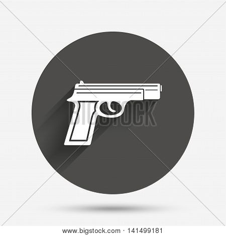 Gun sign icon. Firearms weapon symbol. Circle flat button with shadow. Vector
