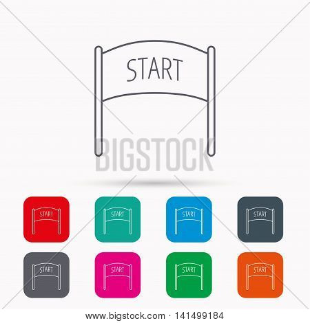 Start banner icon. Marathon checkpoint sign. Linear icons in squares on white background. Flat web symbols. Vector