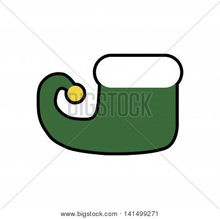 elf boot merry christmas cartoon celebration icon. Isolated and flat illustration. Vector graphic
