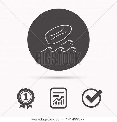 Surfboard icon. Surfing waves sign. Report document, winner award and tick. Round circle button with icon. Vector