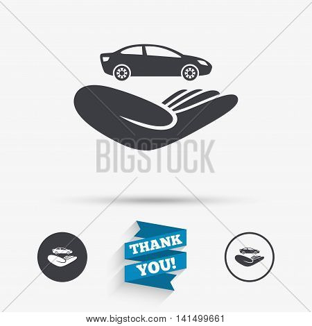 Car insurance sign icon. Hand holds transport. Protection vehicle from damage and accidents. Flat icons. Buttons with icons. Thank you ribbon. Vector