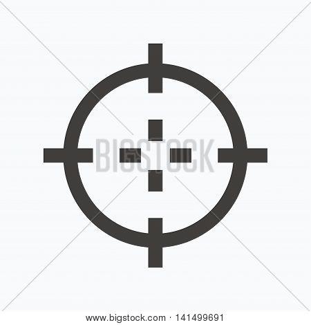 Target icon. Crosshair aim symbol. Gray flat web icon on white background. Vector