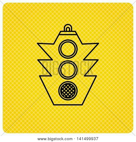 Traffic light icon. Safety direction regulate sign. Linear icon on orange background. Vector