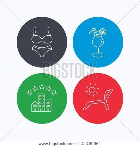 Lingerie, deck chair and cocktail icons. Hotel linear sign. Linear icons on colored buttons. Flat web symbols. Vector
