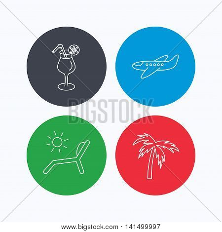 Airplane, deck chair and cocktail icons. Palm tree linear sign. Linear icons on colored buttons. Flat web symbols. Vector