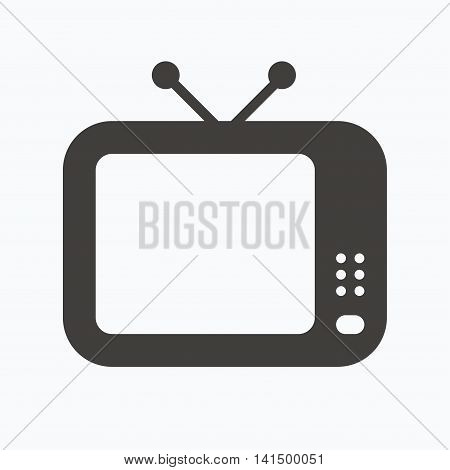 TV icon. Retro television symbol. Gray flat web icon on white background. Vector