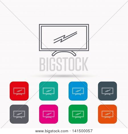 Lcd tv icon. Led monitor sign. Widescreen display symbol. Linear icons in squares on white background. Flat web symbols. Vector