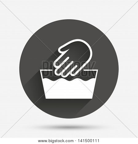 Hand wash sign icon. Not machine washable symbol. Circle flat button with shadow. Vector