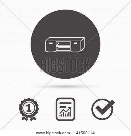 TV table stand icon. Television furniture sign. Report document, winner award and tick. Round circle button with icon. Vector
