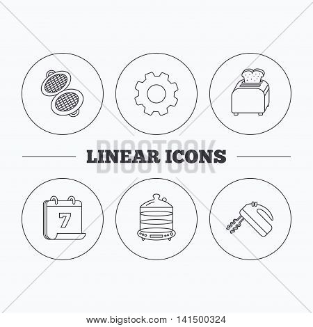 Waffle-iron, toaster and blender icons. Steamer linear sign. Flat cogwheel and calendar symbols. Linear icons in circle buttons. Vector