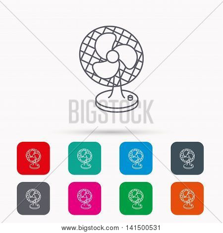 Ventilator icon. Fan or propeller sign. Linear icons in squares on white background. Flat web symbols. Vector