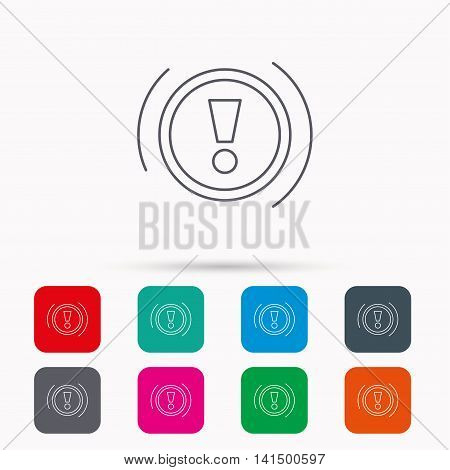 Warning icon. Dashboard attention sign. Caution exclamation mark symbol. Linear icons in squares on white background. Flat web symbols. Vector