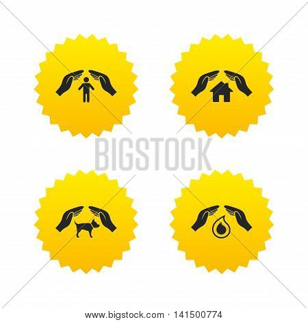 Hands insurance icons. Shelter for pets dogs symbol. Save water drop symbol. House property insurance sign. Yellow stars labels with flat icons. Vector