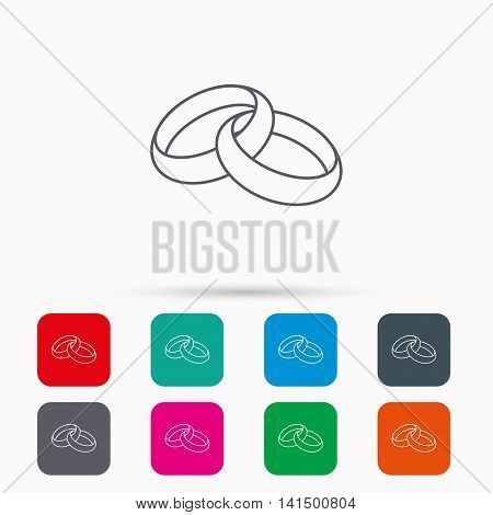 Wedding rings icon. Bride and groom jewelery sign. Linear icons in squares on white background. Flat web symbols. Vector
