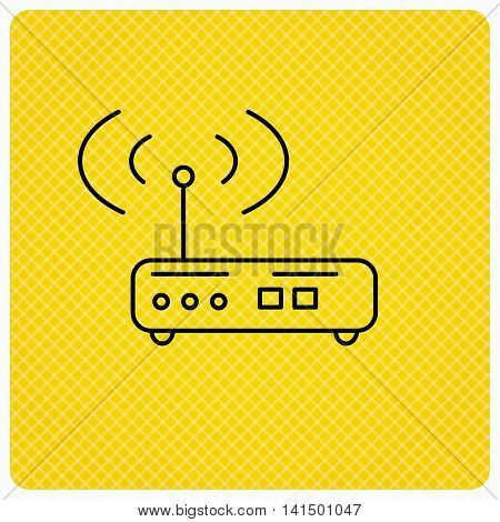 Wi-fi router icon. Wifi wireless internet sign. Device with antenna symbol. Linear icon on orange background. Vector