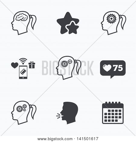 Head with brain icon. Female woman think symbols. Cogwheel gears signs. Flat talking head, calendar icons. Stars, like counter icons. Vector