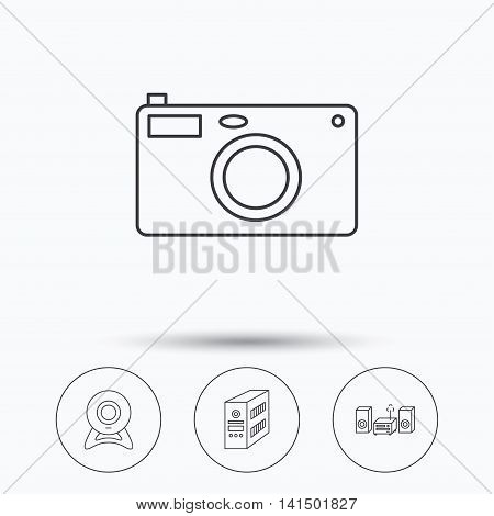 Photo camera, pc case and music center icons. Web camera linear sign. Linear icons in circle buttons. Flat web symbols. Vector