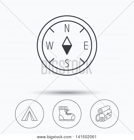 Backpack, camping tend and hiking boots icons. Compass linear sign. Linear icons in circle buttons. Flat web symbols. Vector